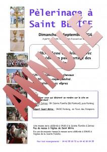 Annulation Pèlerinage Saint Blaise le 11 Septembre 2016