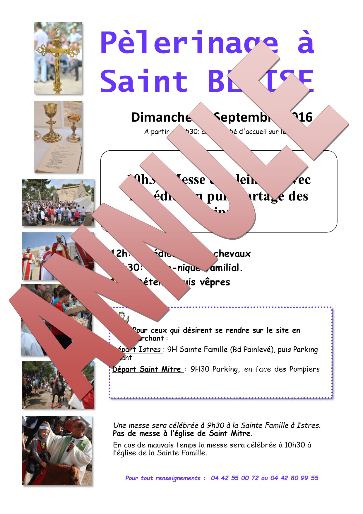 Annulation Pèlerinage Saint Blaise le 11 Septembre 2016